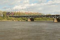 Warsaw National Stadium, Vistula River And Bridge Stock Image