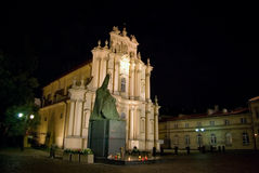 Warsaw by night. Church of St. Joseph of the Visitationists with statue of Stefan Wyszynski, prelate of Poland by night in Warsaw Stock Photos