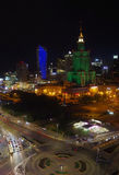 Warsaw by night. Warsaw city centre by night with highest buildings in Poland Royalty Free Stock Images