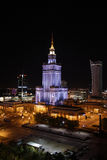 Warsaw at night: Palace of Culture and Science Stock Photos