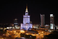Warsaw at night: Palace of Culture and Science. Warsaw city scape - Palace of Culture and Science at nighttime (Poland stock photos