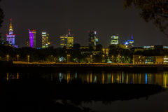 Warsaw by night, Poland Royalty Free Stock Image