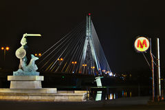 Warsaw by night Stock Photography