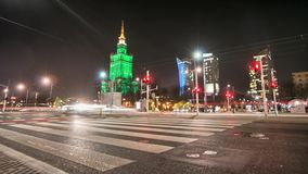 Warsaw by night time lapse in full HD. stock video footage