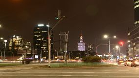 Warsaw by night stock footage