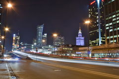 Warsaw night view Royalty Free Stock Photo