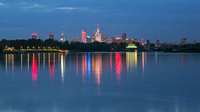 Warsaw night view of the city Royalty Free Stock Images