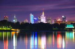 Warsaw night view of the city Stock Images
