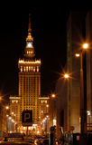 Warsaw by night1. Palace of culture in Science at night in Warsaw at night Stock Images