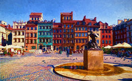 Warsaw. Oil painting Royalty Free Stock Photo