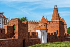 Warsaw Old City Wall. City wall in Old Town of Warsaw in Poland, brick fortification royalty free stock photography