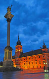 Warsaw Old Town. Sigismund's Column and Royal Castle of twilight - Warsaw Old Town. Poland Royalty Free Stock Photography