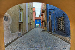 Warsaw Old Town. Narrow cobblestone street in the Warsaw Old Town, Poland royalty free stock photo