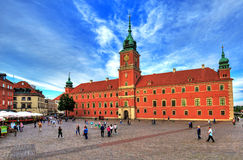 Warsaw, old town, castle square and the royal castle. June 25 2014 Royalty Free Stock Photos