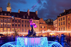 Warsaw Old Town at Christmas in Poland Royalty Free Stock Photo