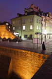 Warsaw Old Town Houses and City Wall at Night Royalty Free Stock Image