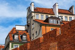 Warsaw Old Town Houses And Wall. Warsaw Old Town houses behind city wall fortification in Poland royalty free stock images