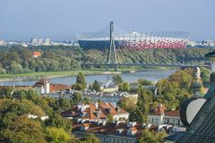 Warsaw Old Town and Mariensztat panorama, Poland Royalty Free Stock Images