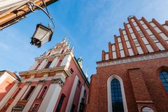 Warsaw old town. Warsaw, Poland - Oct 1, 2018: Warsaw old town. St. John`s Archcathedral and Shrine of Our Lady of Grace the Patron of Warsaw stock photos