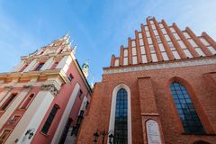 Warsaw old town. Warsaw, Poland - Oct 1, 2018: Warsaw old town. St. John`s Archcathedral and Shrine of Our Lady of Grace the Patron of Warsaw stock image