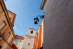 Warsaw old town. Warsaw, Poland - Oct 1, 2018: Warsaw old town. St. John`s Archcathedral and Shrine of Our Lady of Grace the Patron of Warsaw royalty free stock photo