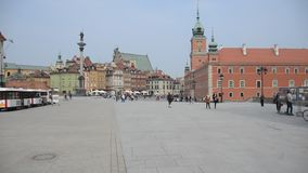 Warsaw Old town. Poland. tourist place visited by great amout of people stock video footage