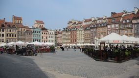 Warsaw Old town. Poland. tourist place visited by great amout of people stock footage