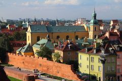 Warsaw Old Town. Warsaw, Poland. Old Town view with city walls. UNESCO World Heritage Site royalty free stock photos