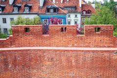 Warsaw Old Town. Remains of fortified walls on the Old Town of Warsaw city, Poland stock images