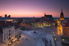 Warsaw Old Town Square at night. The most famous place in Warszawa, Poland stock image
