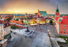 Warsaw Old Town square, Royal castle at sunset, Poland Stock Images