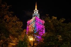 Warsaw Palace of Culture and Science at nighttime Royalty Free Stock Photo