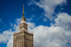Warsaw Palace of Culture and Science. The upper part with the spire of one of the highest buildings in Europe - Palace of Culture and Science in Warsaw, Poland Stock Image