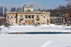 Warsaw, Palace on the Water in Winter stock photo