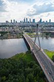 Warsaw panorama, Świętokrzyski bridge. Wide picture of Warsaw center. View from hot air balloon Royalty Free Stock Photography