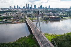 Warsaw panorama, Świętokrzyski bridge. Wide picture of Warsaw center. View from hot air balloon. Horizontal image orientation Royalty Free Stock Image
