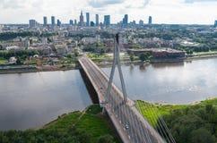 Warsaw panorama, Świętokrzyski bridge. Wide picture of Warsaw center. View from hot air balloon. Horizontal image orientation Royalty Free Stock Image