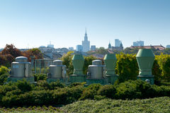 Warsaw panorama. Panaroma of Warsaw from Univercity library roof stock image