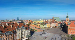 Warsaw panorama. Of old city with royal castle royalty free stock images