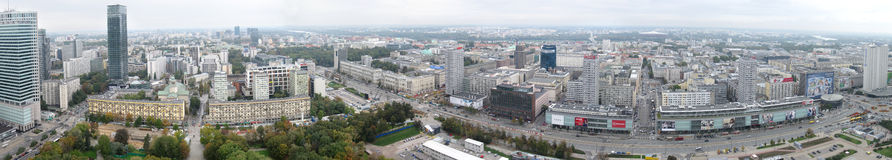 Warsaw panorama. Aerial panorama of foggy Warsaw, Poland royalty free stock photos