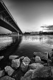 Warsaw panorama with bridge. Over Vistula river - black and white version royalty free stock photos