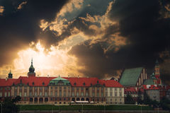 Warsaw panorama with clouds Royalty Free Stock Photo
