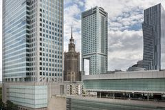 Warsaw panorama at cloudy day, Poland Royalty Free Stock Photos