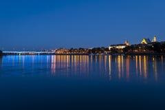 Warsaw panorama during the night Royalty Free Stock Image