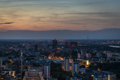 Warsaw panorama at night time. Royalty Free Stock Photography