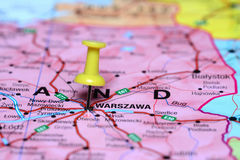 Warsaw pinned on a map of europe Stock Images