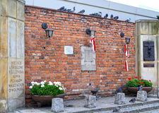 WARSAW, POLAN. A memorial to the dead during the Warsaw revolt on January 28, 1944 Royalty Free Stock Image