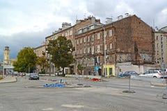 WARSAW, POLAN. Repair work on Zamoysky Street in the area Prague-Pulnots. WARSAW, POLAND - AUGUST 27, 2014: Repair work on Zamoysky Street in the area Prague Stock Photography
