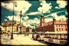 Warsaw, Poland – July 14, 2017: Plac Zamkowy - The castle square in Warsaw in Old Town with royal palace. Royalty Free Stock Photos