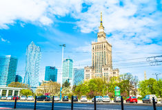 Warsaw, Poland – May 06, 2017: Panorama of Warsaw with modern skyscrapers on a sunny day. With a blue sky overlooking the Palace of Culture. The tallest stock photos